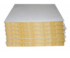 Wall panels with steel sheeting and rockwool inner core